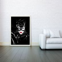 Catwoman, Adversary of Batman, Comic Book Villains, Prints & Posters, Wall Art Print, Poster Any Size - Black and White Poster